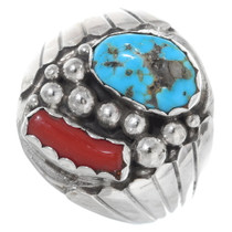 Turquoise Coral Silver Mens Ring 35751