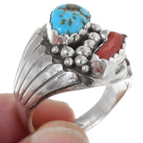 Navajo Coral Turquoise Ring 35751