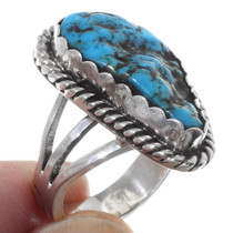 Blue Turquoise Nugget Silver Navajo Ring 35756