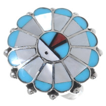 Zuni Sunface Inlay Ring 35758