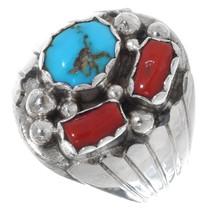 Native American Turquoise Coral Ring 35760