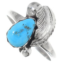 Zuni Silver Turquoise Ladies Ring 35762