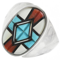 Native American Turquoise Coral Ring 32259