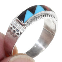 Gemstone Inlay Silver Band Turquoise Ring 35782