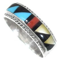 Turquoise Shell Inlay Zuni Ring 35782