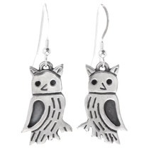 Navajo Sterling Silver Owl Earrings 35806