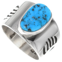 Turquoise Bear Tracks Silver Ring 35809
