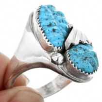 Large Size Carved Turquoise Ring 35810