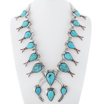 Turquoise Squash Blossom Necklace 23814