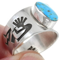 Navajo Sterling Silver Overlay Symbol Turquoise Ring 35813