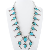 Navajo Turquoise Coral Squash Blossom Necklace 35814