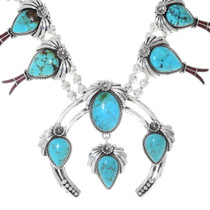 Native American Turquoise Squash Blossom 35814