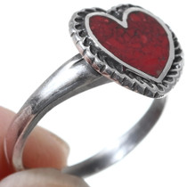 Red Coral Heart Native American Made Ring 35816