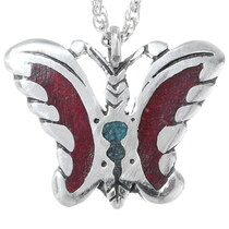 Navajo Coral Butterfly Pendant 35815
