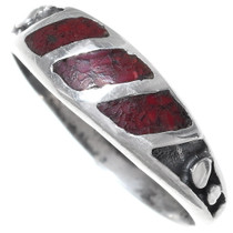 Navajo Inlaid Coral Silver Band Ring 35818