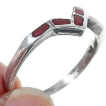 Sterling Silver Navajo Made Coral Ring 35819
