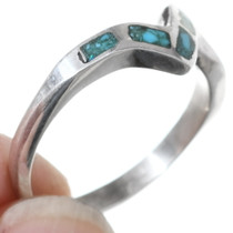 Sterling Silver Turquoise Chip Inlay Ring 35820