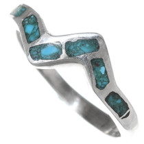 Inlaid Silver Zigzag Turquoise Ring 35820