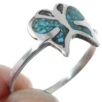 Turquoise Butterfly Native American Silver Ring 35821