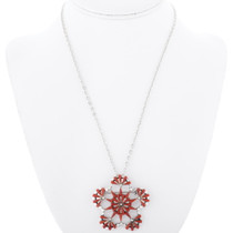 Coral Petit Point Pendant Pin With Chain 35824