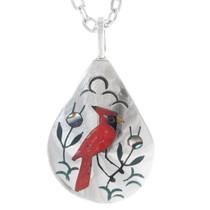 Inlaid Zuni Cardinal Silver Pendant 35827