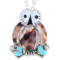 Zuni Inlaid Owl Small Pendant Pin 35828