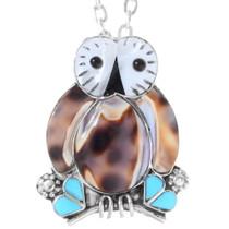 Zuni Inlaid Owl Small Pendant Pin 35828