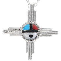 Inlaid Sterling Silver Zia Sunface Pendant 35829