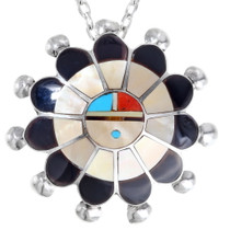 Zuni Inlay Sunface Pendant Brooch 35832