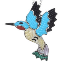 Inlaid Zuni Hummingbird Pendant 35838