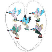 Gemstone Inlay Sterling Silver Hummingbird Pendants 35838