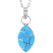Turquoise Sterling Silver Pendant With Chain 35839