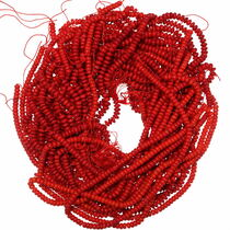 8mm Rondelle Coral Beads 35523