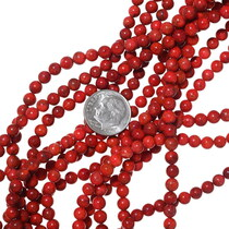 Round Apple Coral Beads 35524