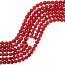 Red Coral Beads 8mm Round 35528