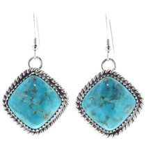 Turquoise Navajo Sterling Silver Earrings 35847
