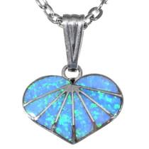 Opal Silver Zuni Heart Pendant