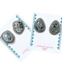 Lander Variscite Navajo Earrings Sterling Silver Post 35861