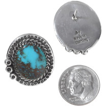 Navajo AvinJoe Real Bisbee Turquoise Sterling Silver Earrings 35864