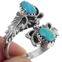 Sterling Silver Open Band Bypass Turquoise Ring 35870