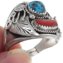 Sterling Silver Turquoise Mens Ring 35873