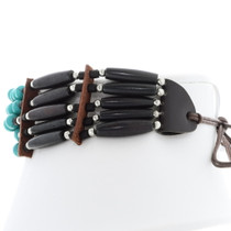 Black Bone Turquoise Leather Tribal Choker 35876