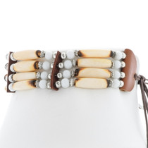 Bone Bead Leather Tribal Choker 35879