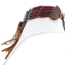 Leather Bone Bead Native American Style Necklace 35880