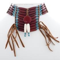 Red Medallion Indian Bone Choker 35880