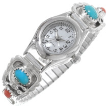 Navajo Turquoise Coral Ladies Watch 35890
