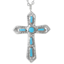 Sterling Silver Turquoise Cross Pendant 35892