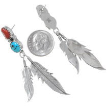 Native American Silver Feather Dangle Earrings 35893