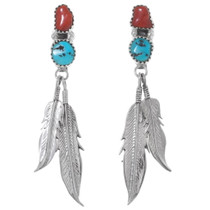 Navajo Turquoise Coral Feather Earrings 35893