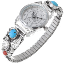 Navajo Turquoise Coral Ladies Watch 35894